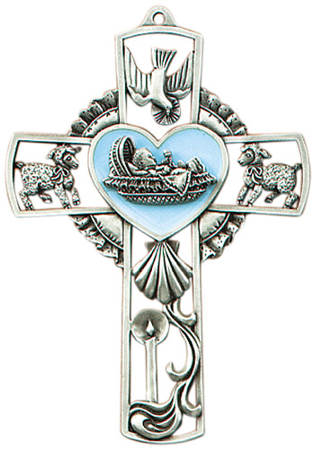 Cross Wall Baptism Baby Boy 5 inch Pewter Silver Enameled