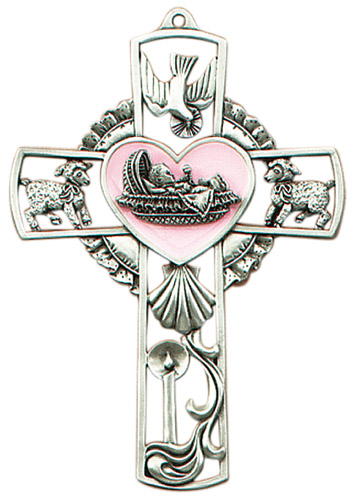 Cross Wall Baptism Baby Girl 5 inch Pewter Silver Enameled