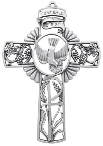 Cross Wall Confirmation 5 inch Pewter Silver