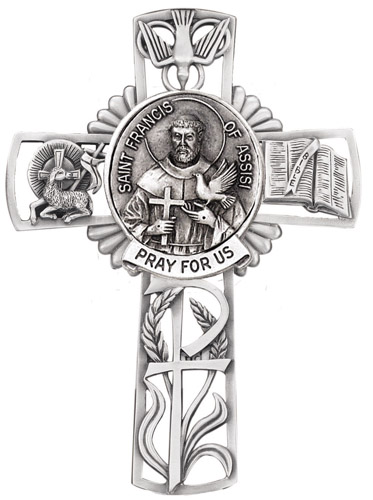 Cross Wall St Francis Assisi 5 inch Pewter Silver