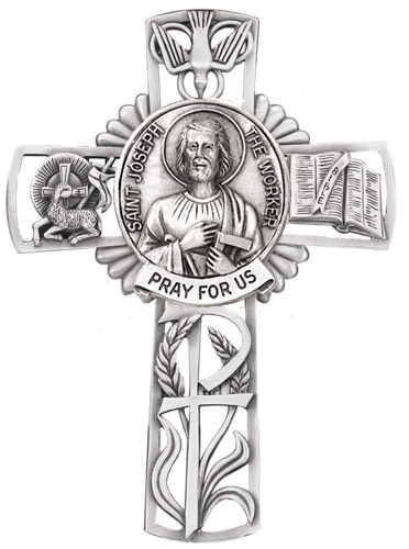 Cross Wall St Joseph Worker 5 inch Pewter Silver