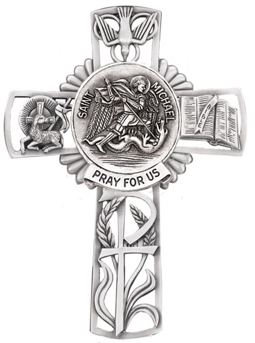 Cross Wall St Michael Archangel 5 inch Pewter Silver