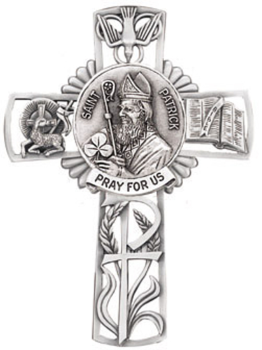 Cross Wall St Patrick 5 inch Pewter Silver