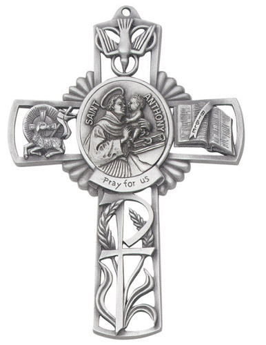 Cross Wall St Anthony Padua 5 inch Pewter Silver