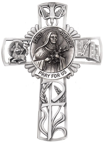 Cross Wall St Therese Lisieux 5 inch Pewter Silver