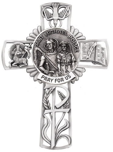 Cross Wall St Michael Police 5 inch Pewter Silver