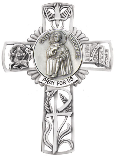 Cross Wall St Peregrine 5 inch Pewter Silver