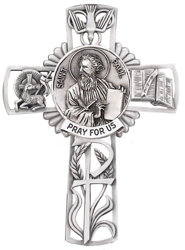 Cross Wall St Paul Apostle 5 inch Pewter Silver