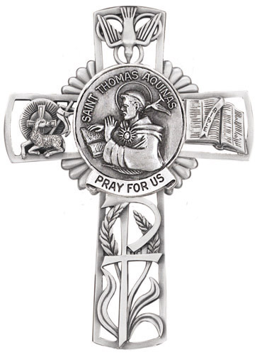 Cross Wall St Thomas Aquinas 5 inch Pewter Silver
