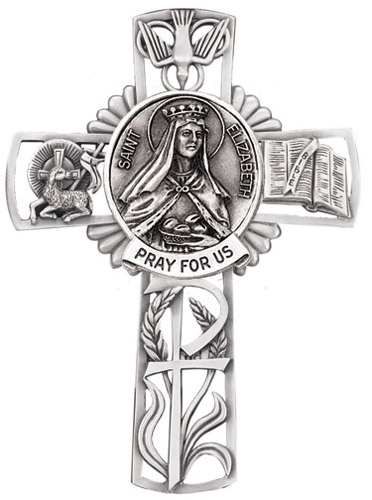Cross Wall St Elizabeth Hungary 5 inch Pewter Silver