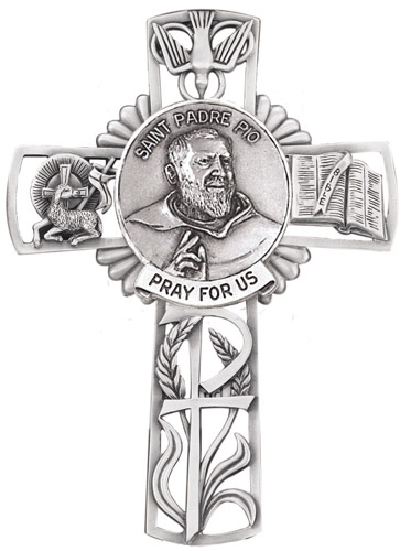 Cross Wall St Padre Pio 5 inch Pewter Silver