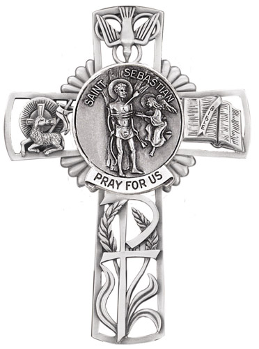 Cross Wall St Sebastian 5 inch Pewter Silver
