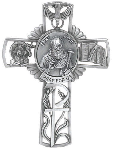 Cross Wall St David Wales 5 inch Pewter Silver