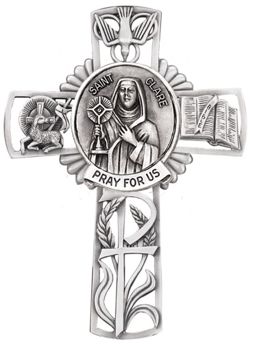 Cross Wall St Clare Assisi 5 inch Pewter Silver