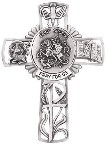 Cross Wall St George 5 inch Pewter Silver