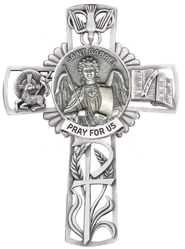 Cross Wall St Gabriel Archangel 5 inch Pewter Silver