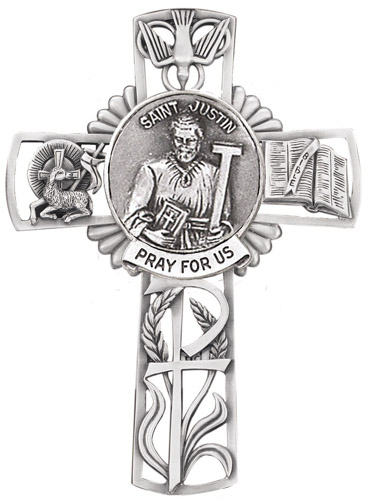 Cross Wall St Justin Martyr 5 inch Pewter Silver