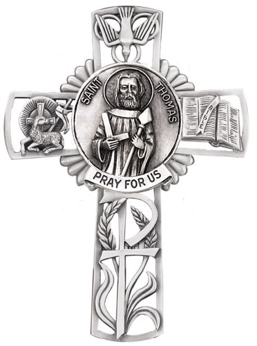Cross Wall St Thomas Apostle 5 inch Pewter Silver