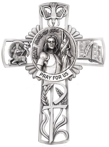 Cross Wall St Joan of Arc 5 inch Pewter Silver