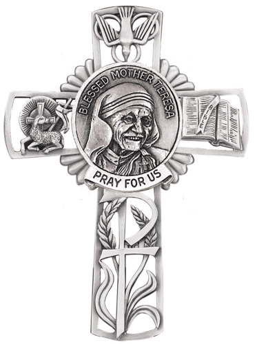 Cross Wall St Mother Teresa Calcutta 5 inch Pewter Silver