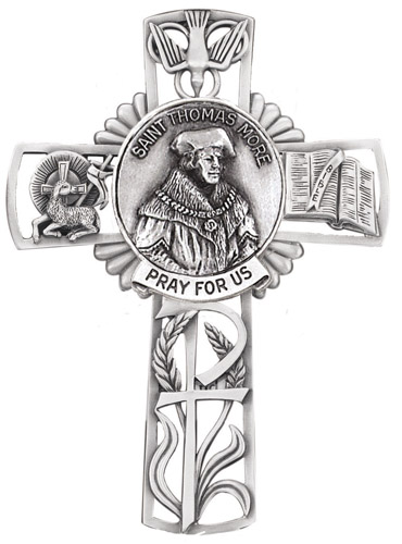 Cross Wall St Thomas More 5 inch Pewter Silver