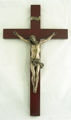 Crucifix Wall 14 inch Wood with Bronzed Resin Corpus