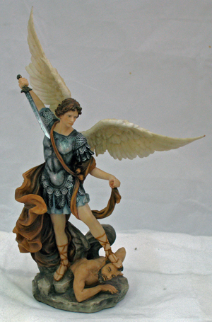 Statue St Michael Archangel 10 Inch Resin Hand Painted