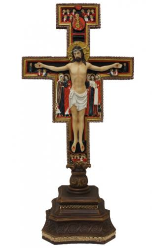 Crucifix Standing San Damiano 14 inch Resin Hand Painted