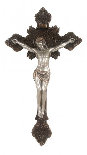 Crucifix Wall St. Benedict 14 Inch Pewter Style Corpus Bronze