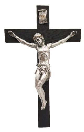Crucifix Wall 16 inch Pewter Style Corpus Gold Trim