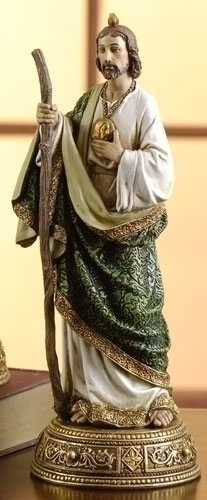 Statue St Jude Thaddeus 10.75 inch Resin Gold Painted