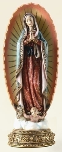 Statue Mary Our Lady Guadalupe 11.75 inch Resin Gold Painted