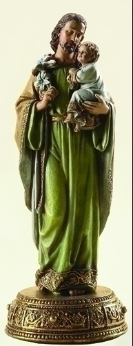 Statue St Joseph 10.25 inch Resin Gold Painted