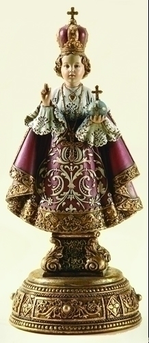 Statue Jesus Infant Child Prague 9.5 inch Resin Gold Painted