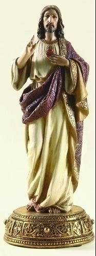 Statue Jesus Sacred Heart 10.25 inch Resin Gold Painted