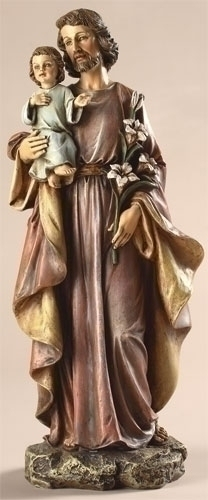 Statue St Joseph 10 inch Resin Painted