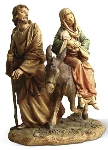Statue Holy Family Flight into Egypt 9 inch Resin Painted
