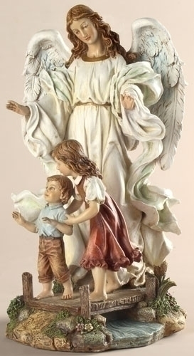 Statue Guardian Angel 10 inch Resin Painted