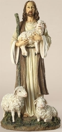 Statue Jesus Good Shepherd 12 inch Resin Painted