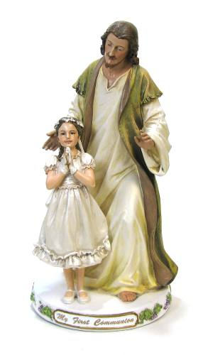 Statue Jesus & First Communion Girl 9.5 inch Resin Painted