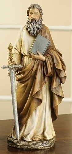Statue St Paul Apostle 10.5 inch Resin Painted