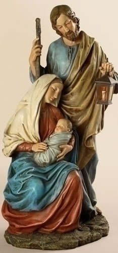 Statue Holy Family Nativity 15.5 inch Resin Painted