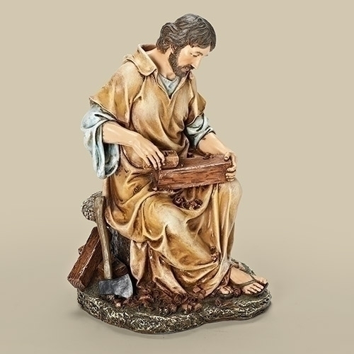 Statue St Joseph Worker 10.25 inch Resin Painted