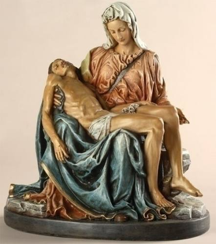 Statue Mary Pieta Sorrowful Mother 10 inch Resin Painted