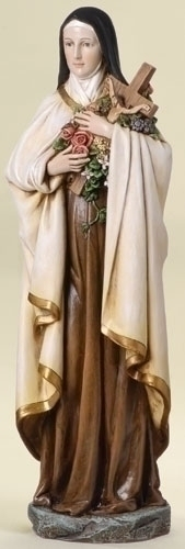 Statue St Therese Lisieux 13.75 inch Resin Painted
