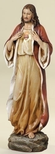 Statue Jesus Sacred Heart 13.75 inch Resin Painted
