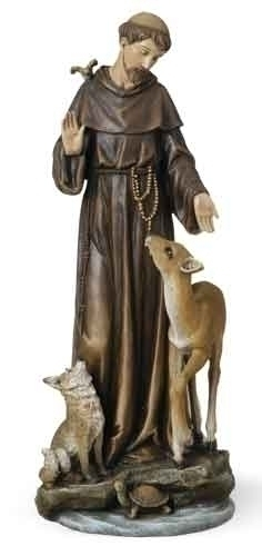 Statue St Francis Assisi 13.75 inch Resin Painted