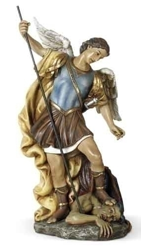 Statue St Michael Archangel 15.5 inch Resin Painted