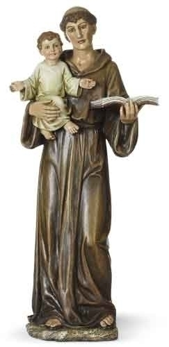 Statue St Anthony Padua 14.5 inch Resin Painted