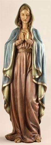 Statue Mary Praying Madonna 37.5 inch Resin Painted